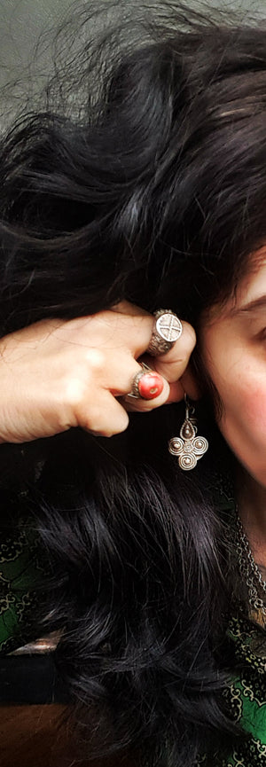 Vintage Afghani Silver Earrings