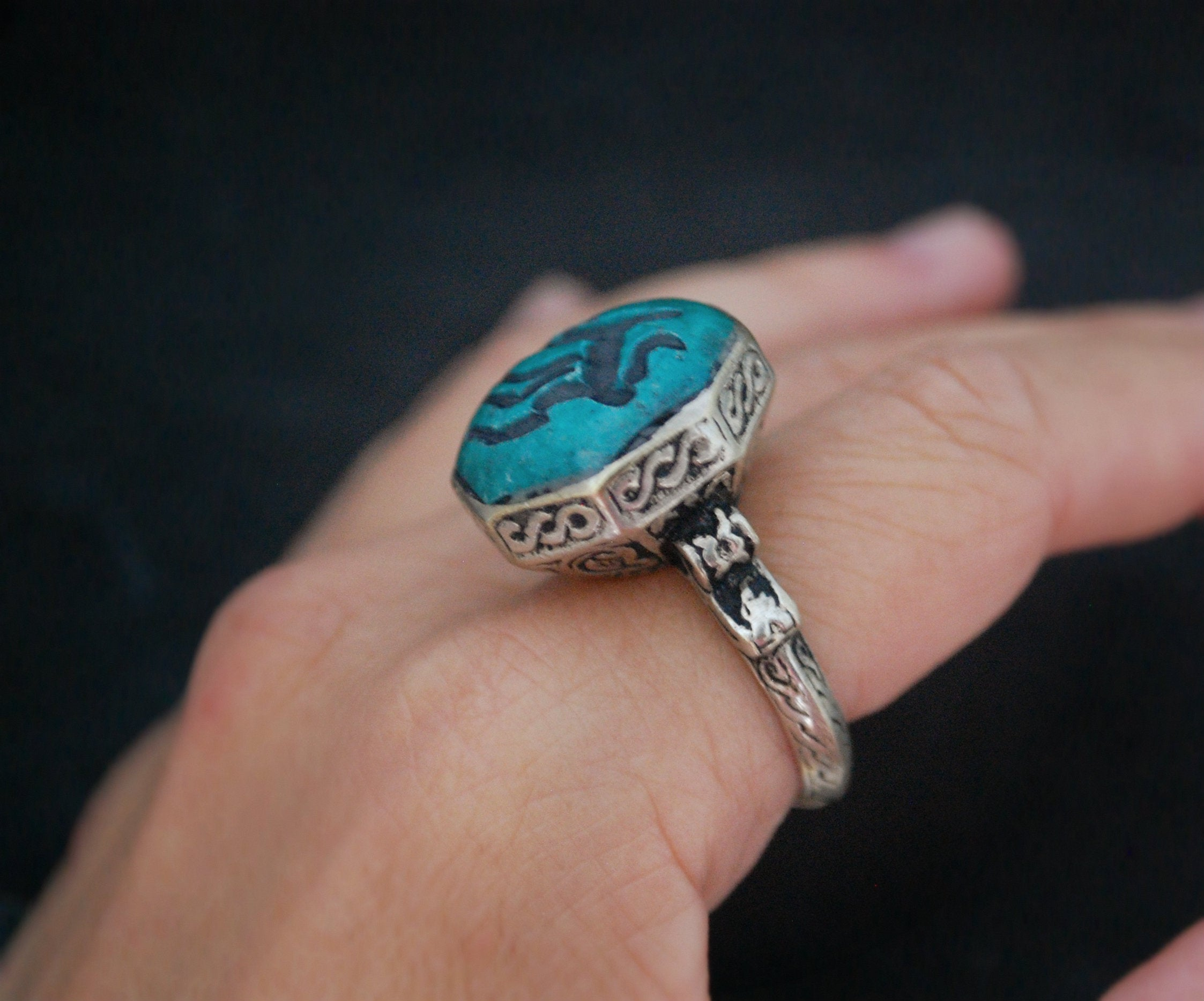 Afghani Animal Intaglio Ring  - Size 9.5