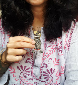 Ganesha Pendant with Bells and Red Glass
