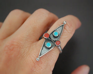 Native American Coral Turquoise Ring - Size 8