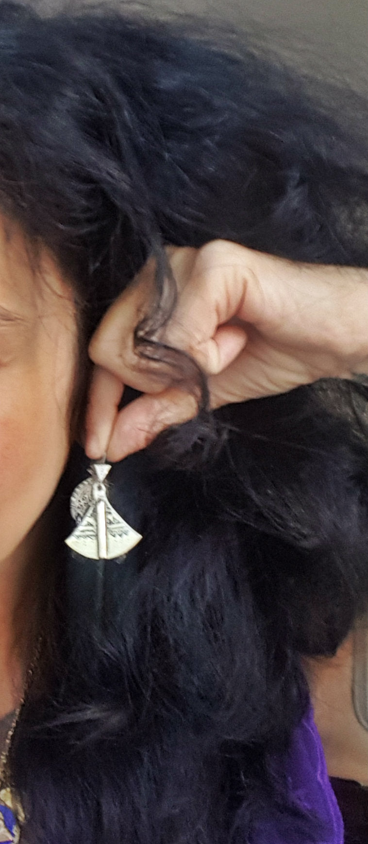 Tuareg Earrings with Carvings