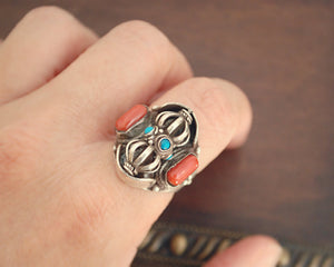 Nepali Coral Turquoise Dorje Ring - Adjustable Size