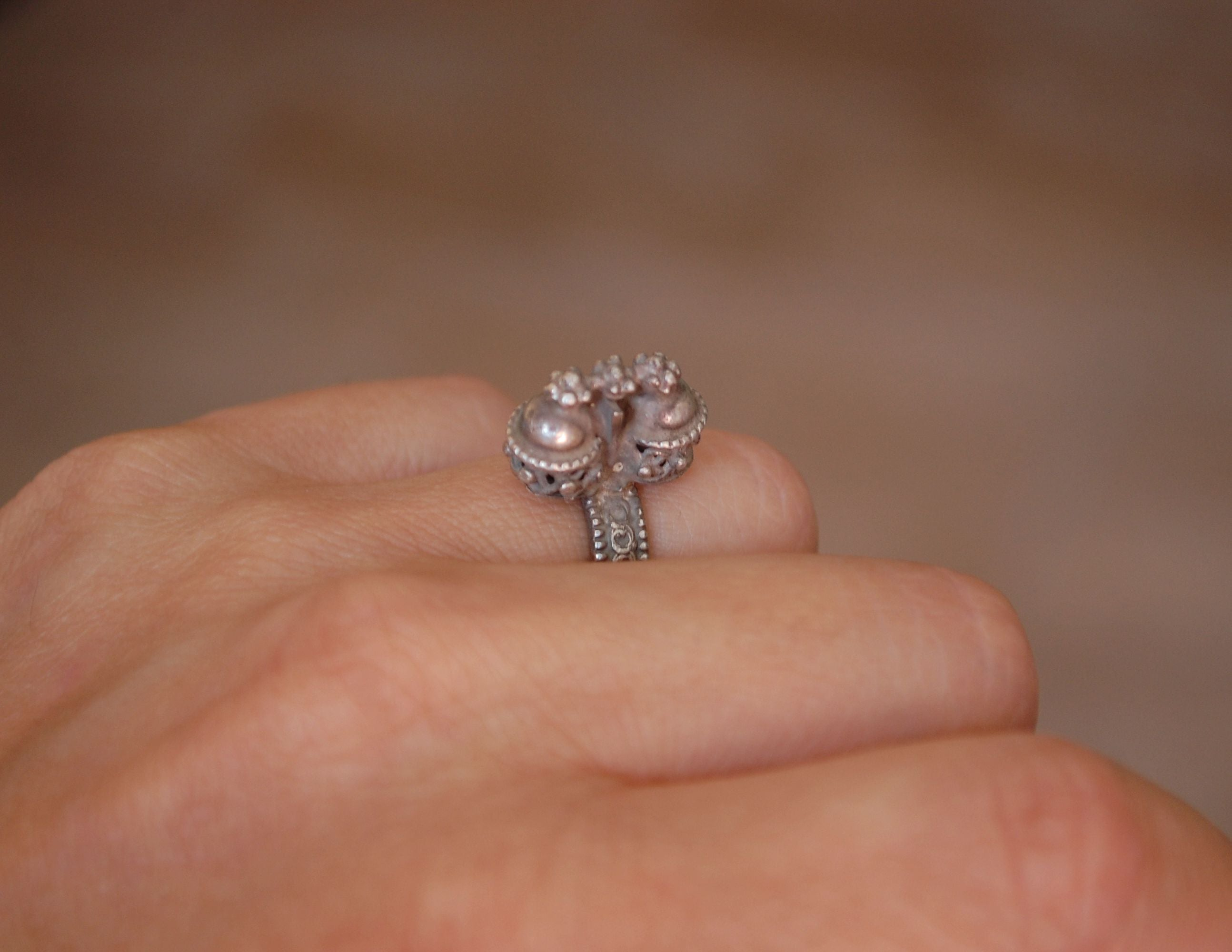 Antique Rajasthani Silver Ring - Size 5.25