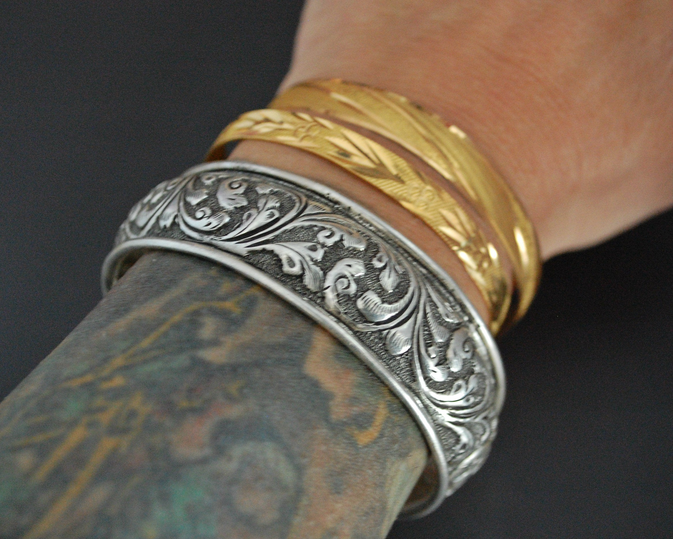 Repoussee Indian Bangle Bracelet - Sterling Silver
