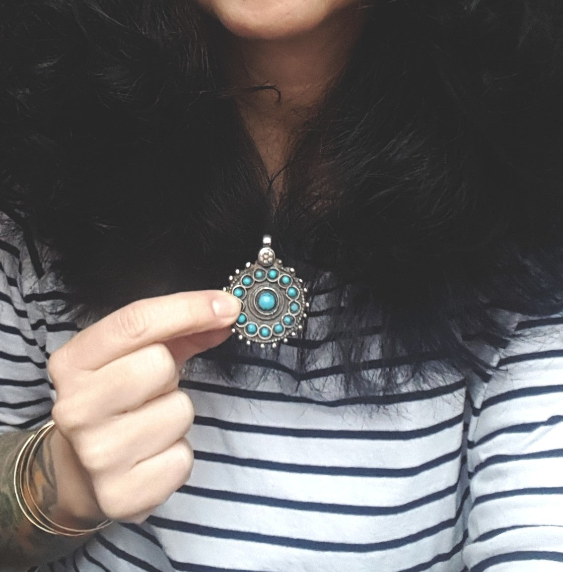 Afghani Turquoise Pendant with Flower