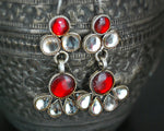Rajasthani Glass Earrings - Red and White