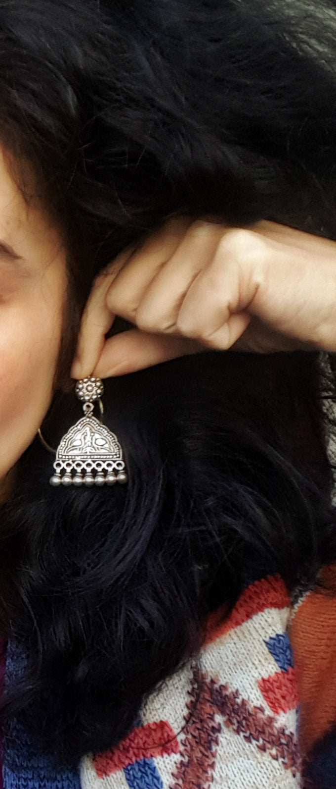 Rajasthani Sterling Silver Peacock Earrings with Bells