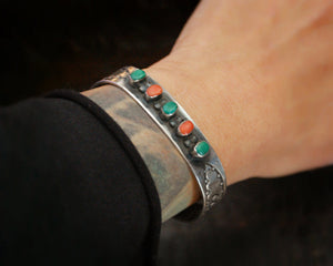Stamped Navajo Coral Turquoise Cuff Bracelet by W. Long
