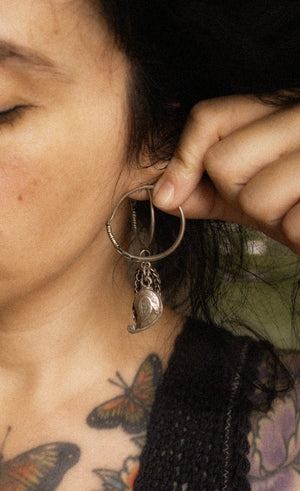 Antique Afghani Hoop Earrings with Paisley Dangles