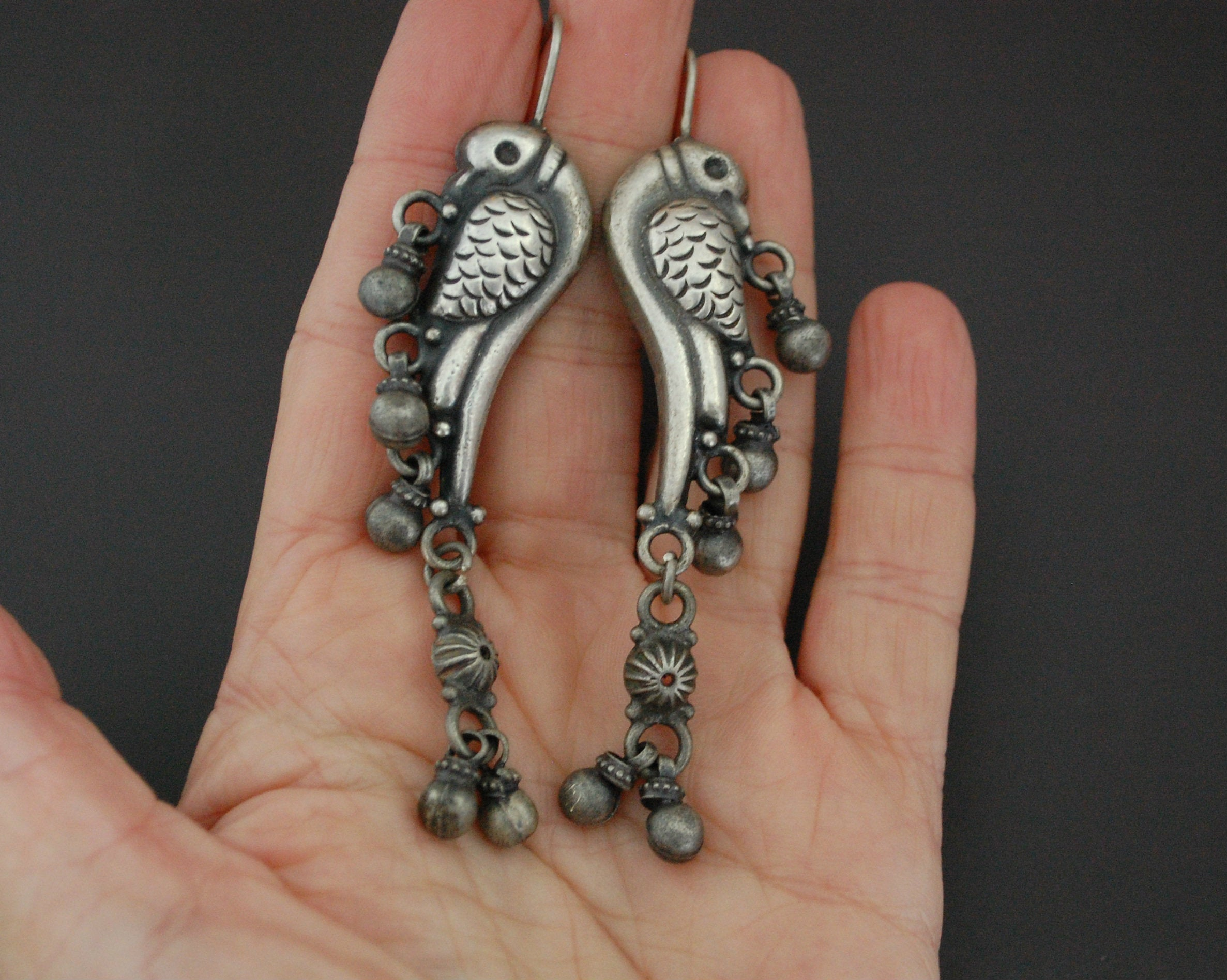 Indian Birdy Silver Earrings with Bells