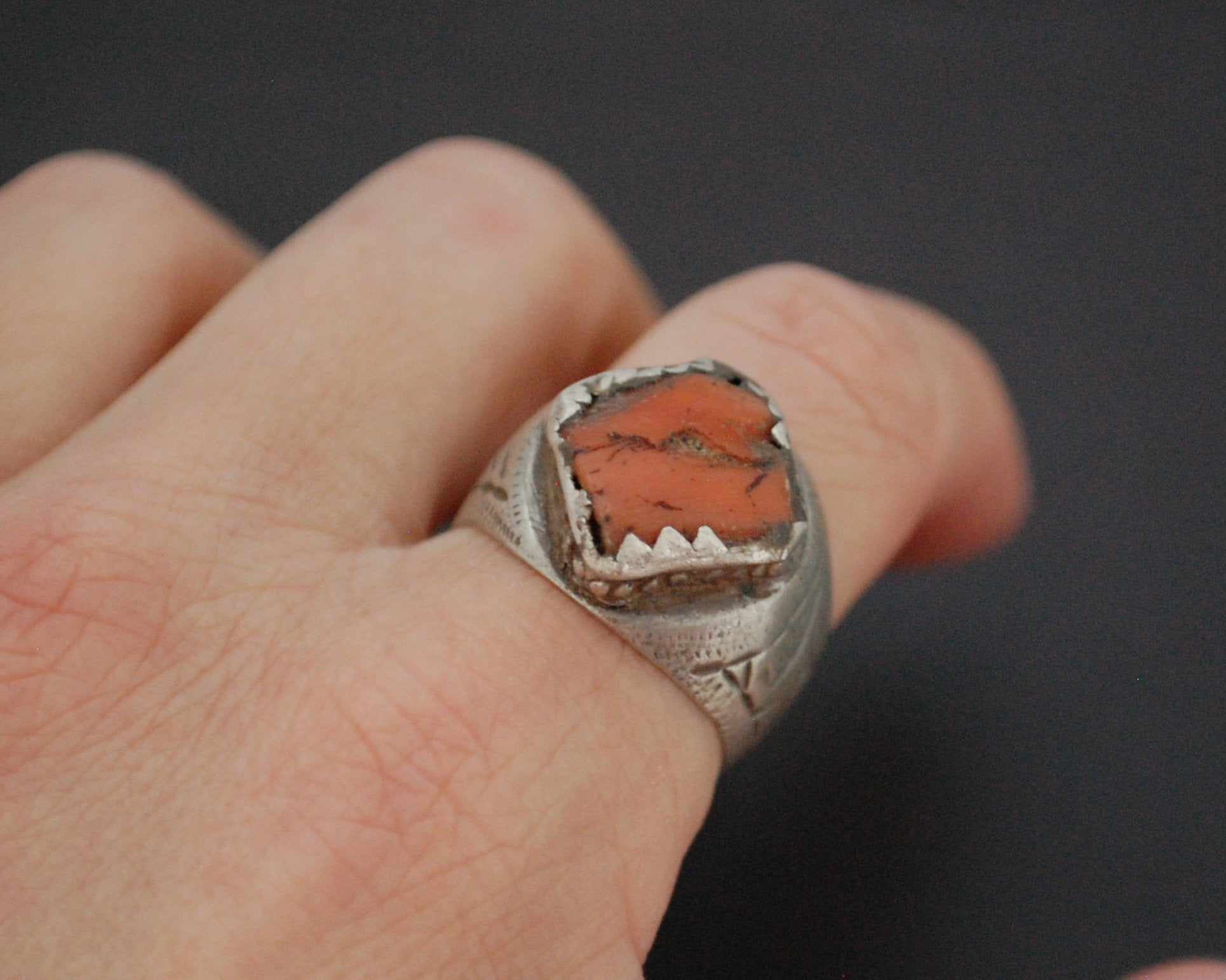 Old Berber Coral Ring - Size 9