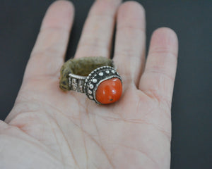 Old Tibetan Coral Ring - Size 9