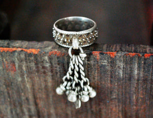 Old Rajasthani Silver Ring with Tassels - Size 6.5