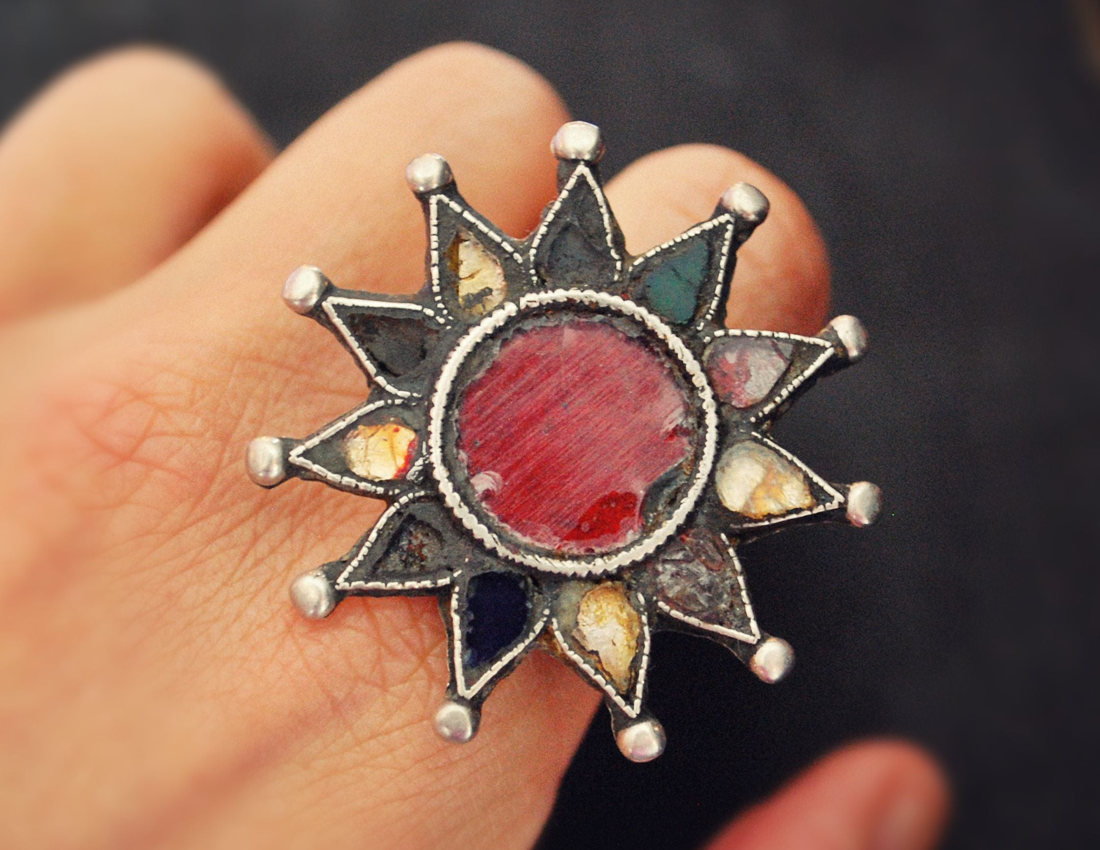 Huge Afghani Star Ring with Glass - Size 8.5