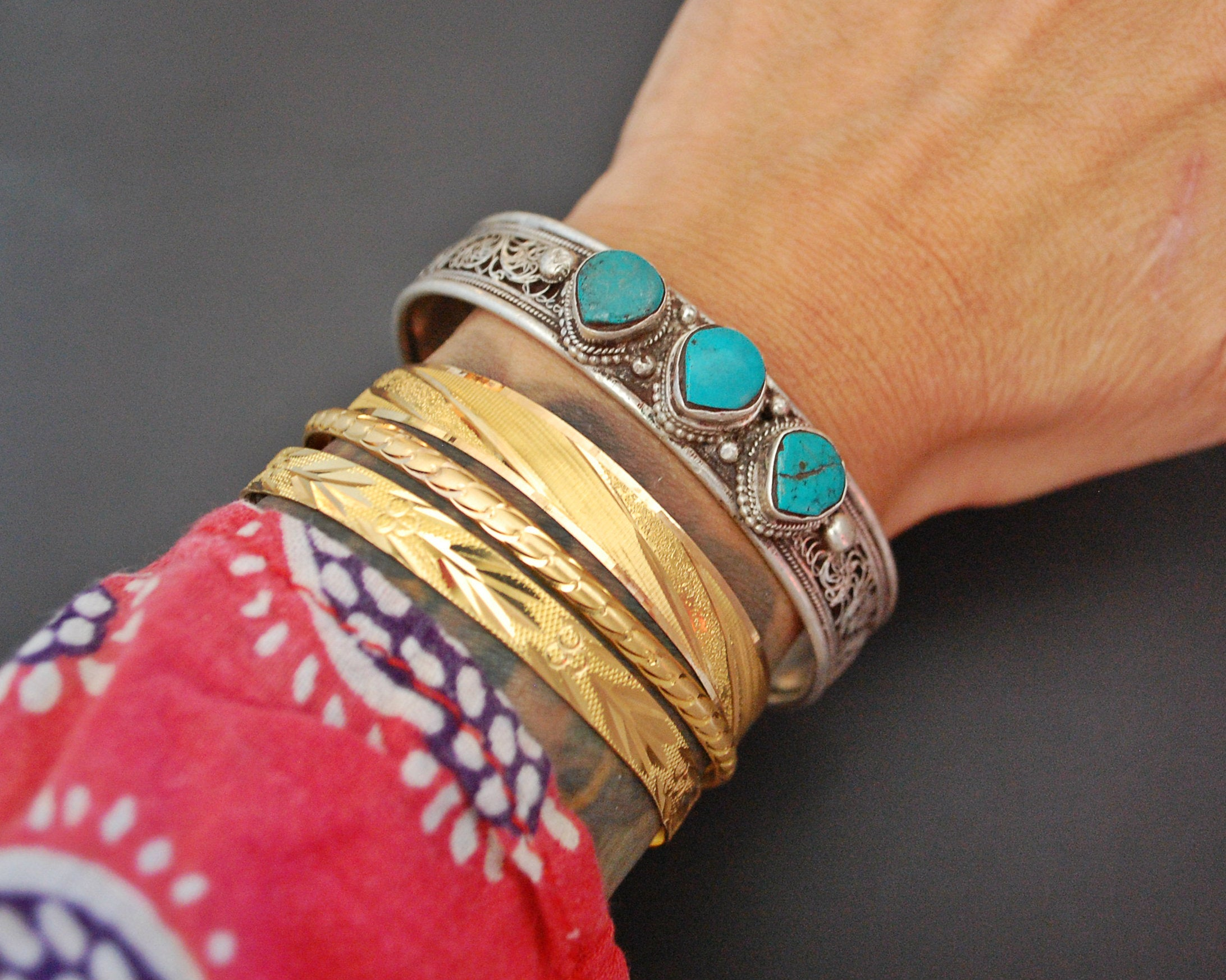 Nepali Turquoise Cuff Bracelet with Filigree