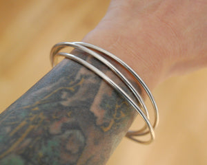 Interlocked Sterling Silver Bangle Bracelet