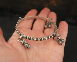 Rajasthani Silver Bracelet with Bells - XSMALL