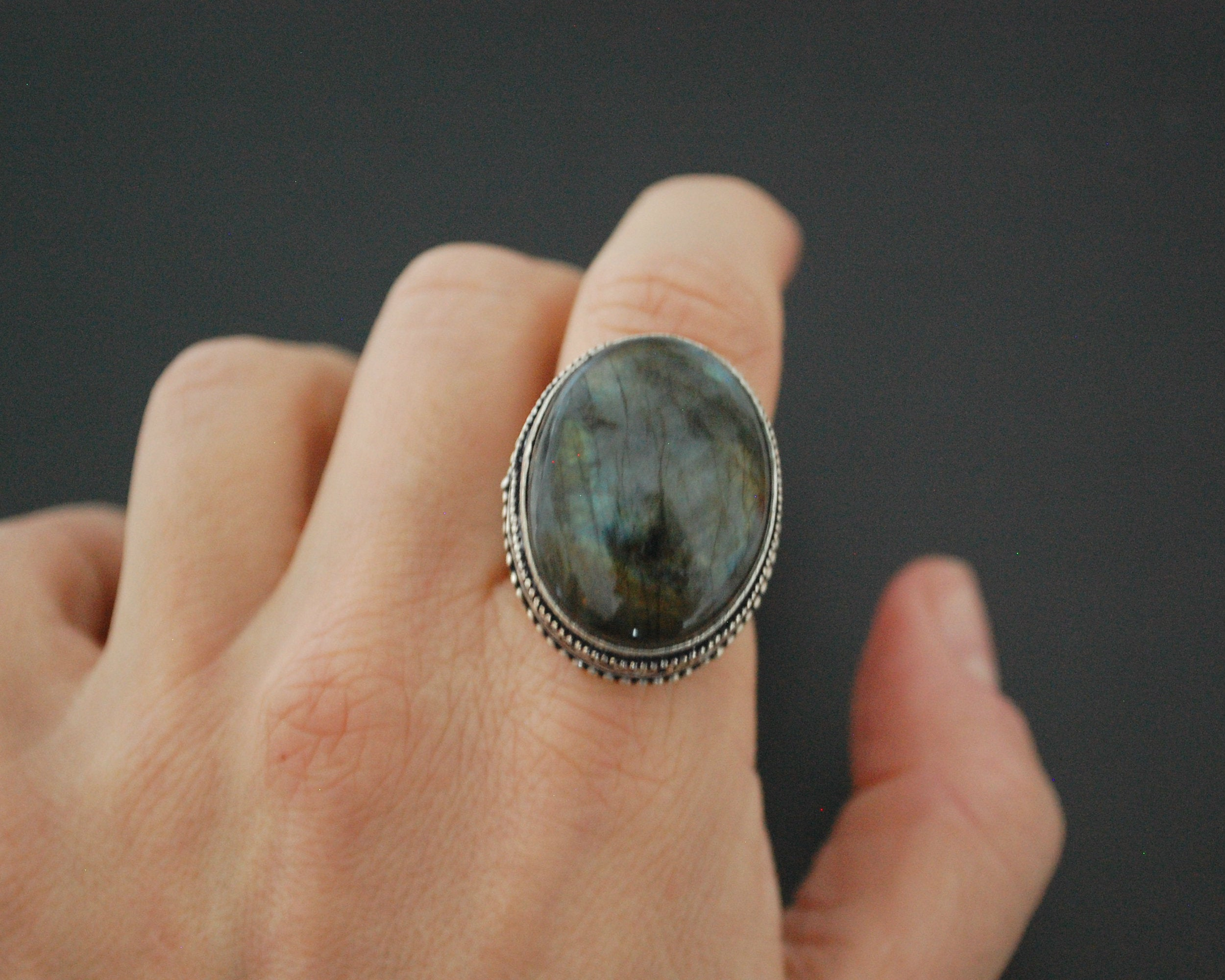 Bold Sterling Silver Labradorite Ring - Size 8.75