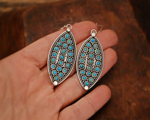 Ethnic Turquoise Dangle Earrings from India