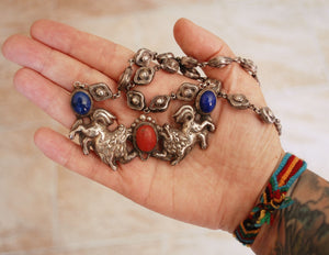 Tibetan Snow Lion Necklace with Coral and Lapis Lazuli