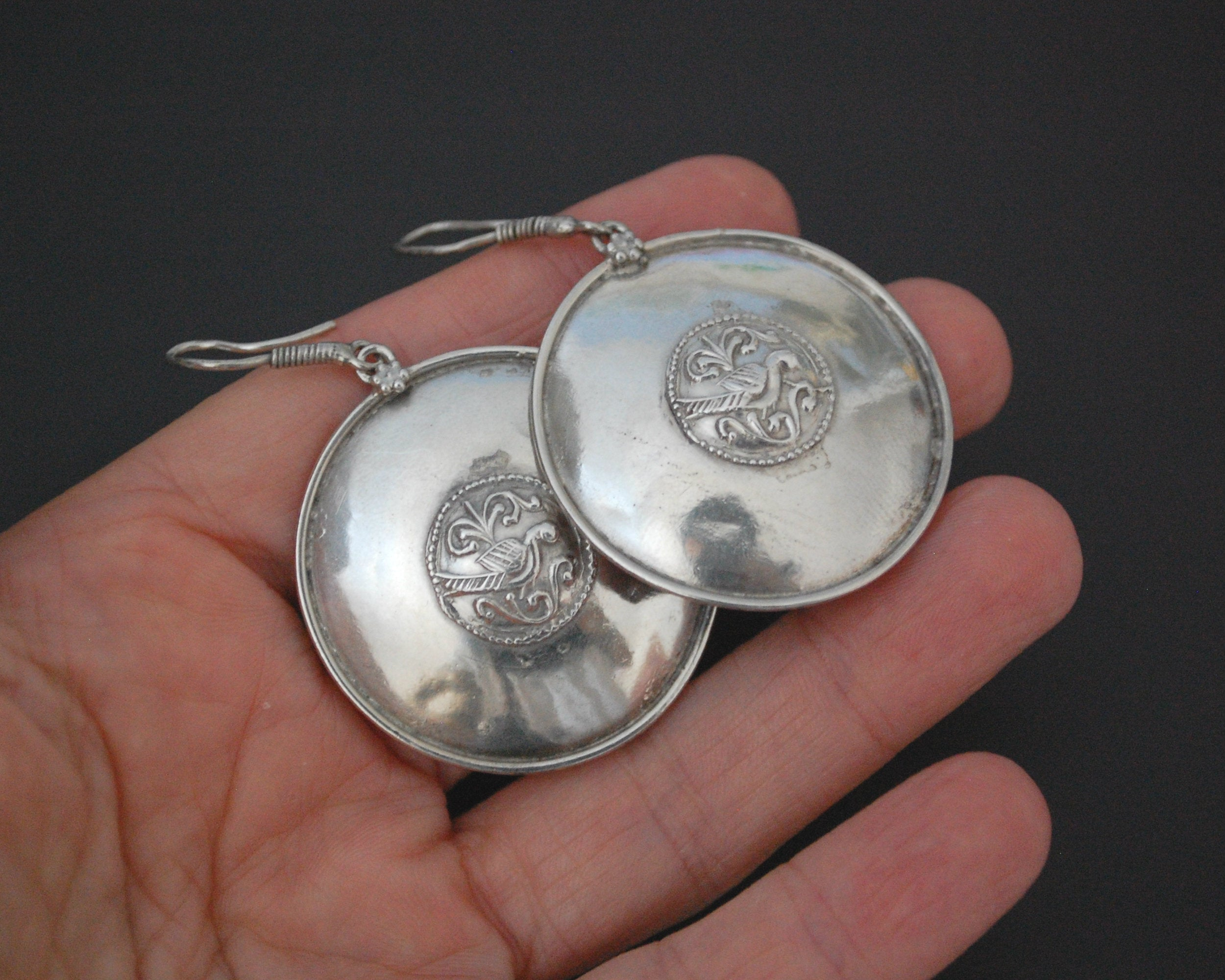 Indian Silver Peacock Disc Earrings