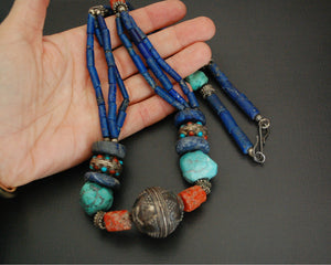 Long Coral, Lapis Lazuli and Turquoise Necklace from India