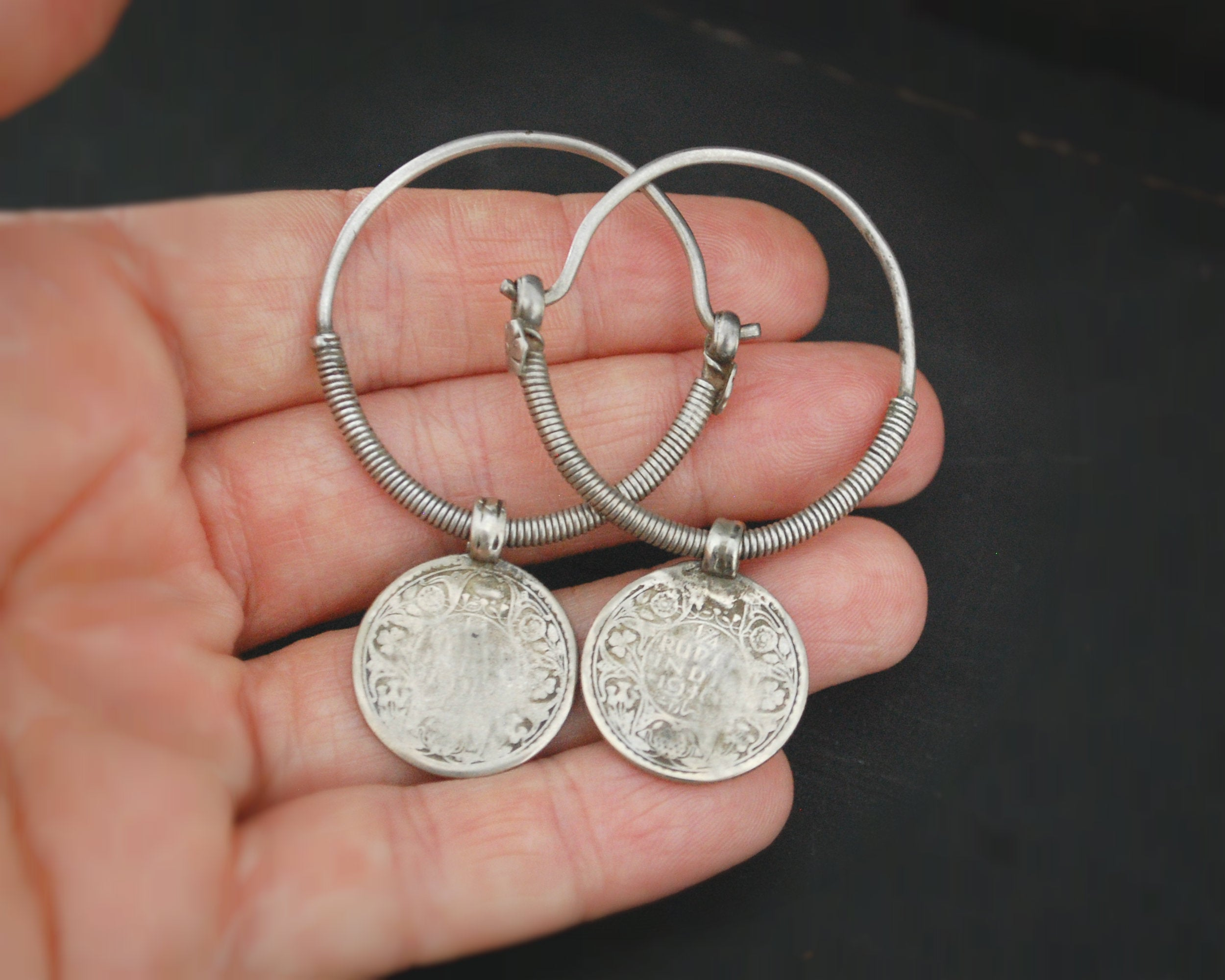 Tribal Indian Hoop Earrings with Coins - LARGE