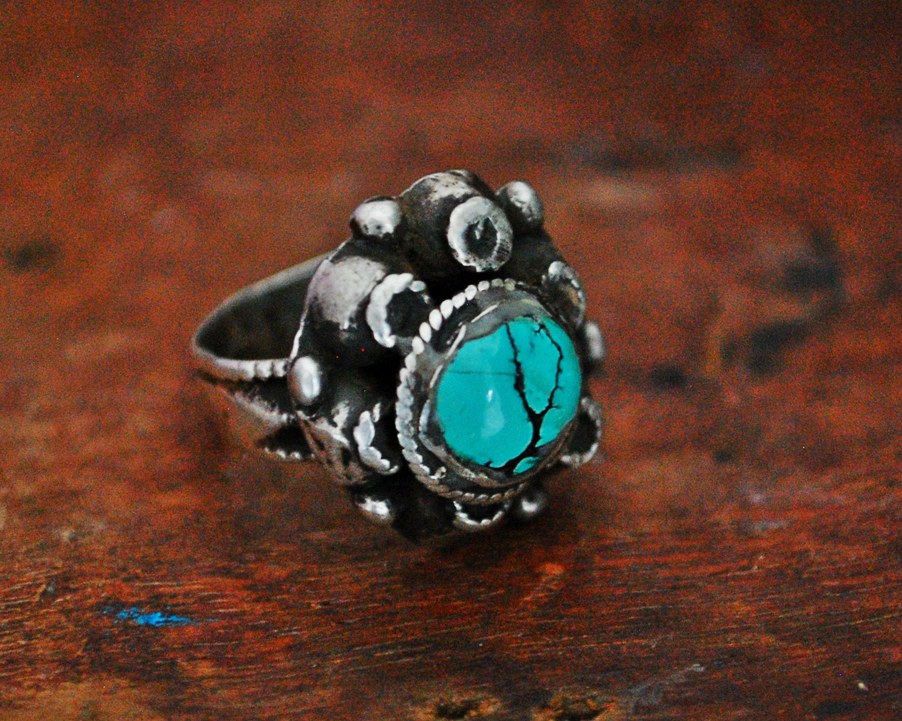 Antique Afghani Turquoise Ring - Size 7