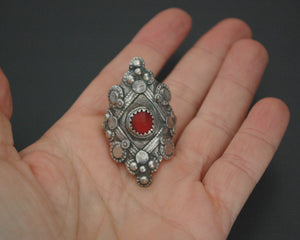 Afghani Tribal Silver Ring with Red Glass - Size 9