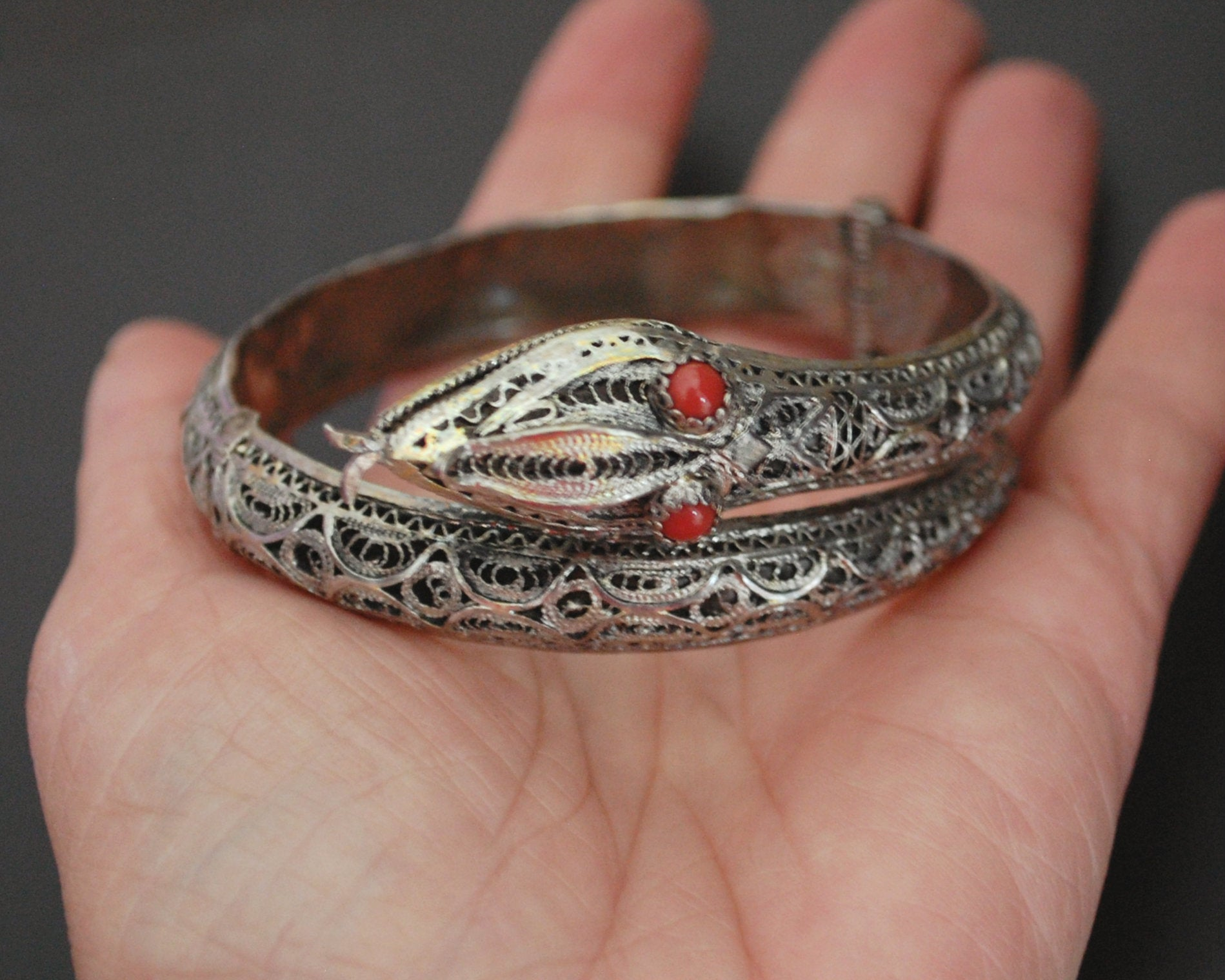 Antique Ottoman Filigree Snake Bracelet with Coral Eyes