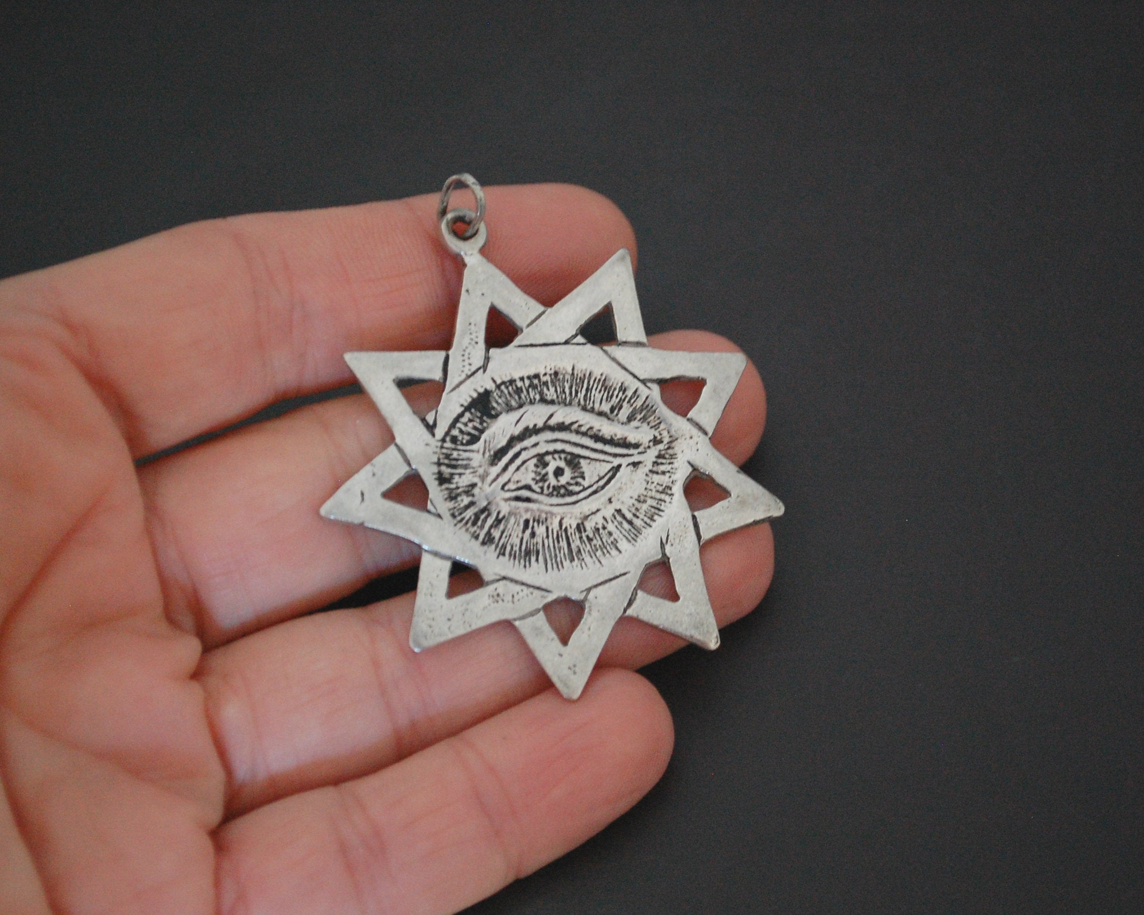 Solid Silver Star and Eye Pendant