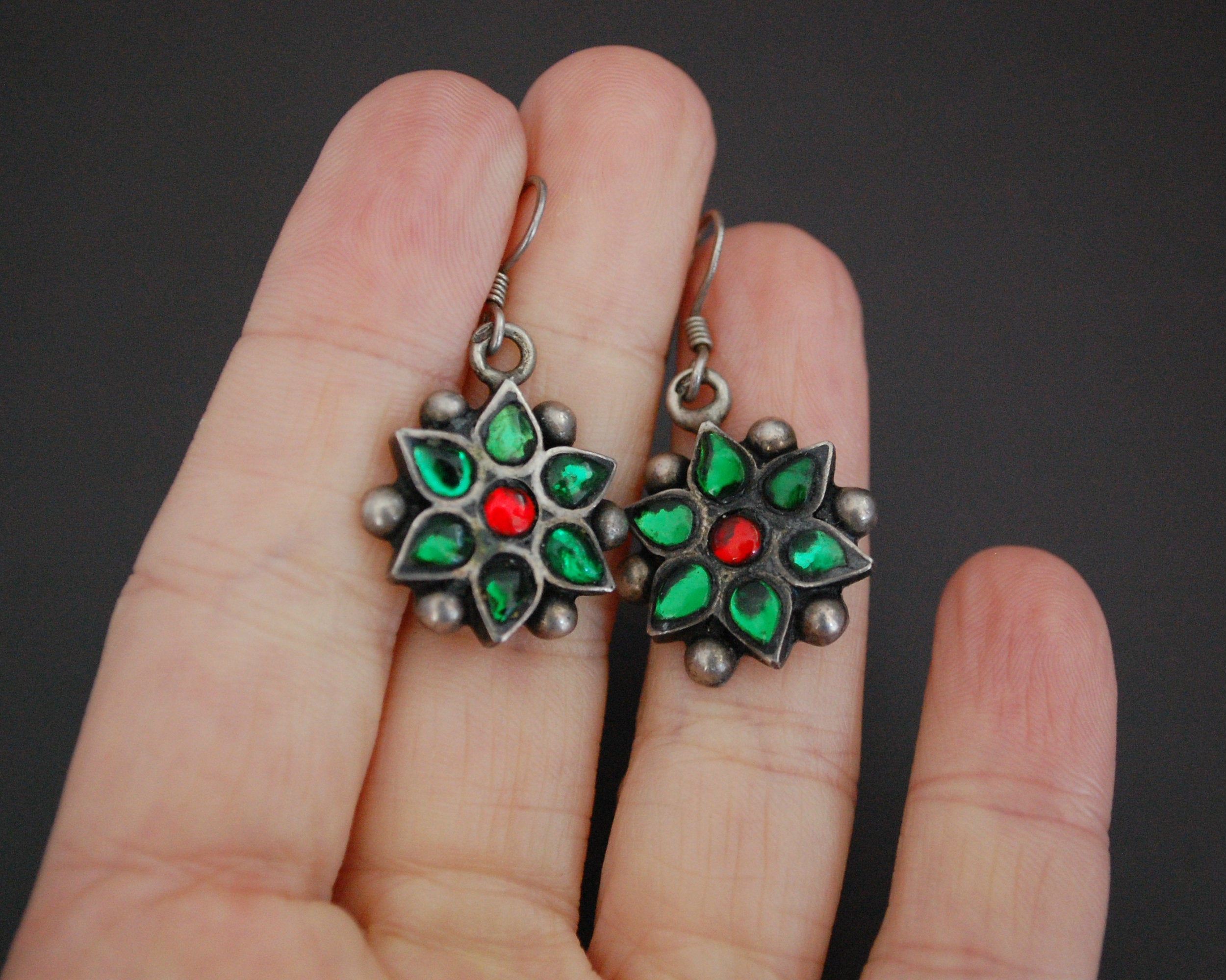 Rajasthani Flower Earrings with Glass