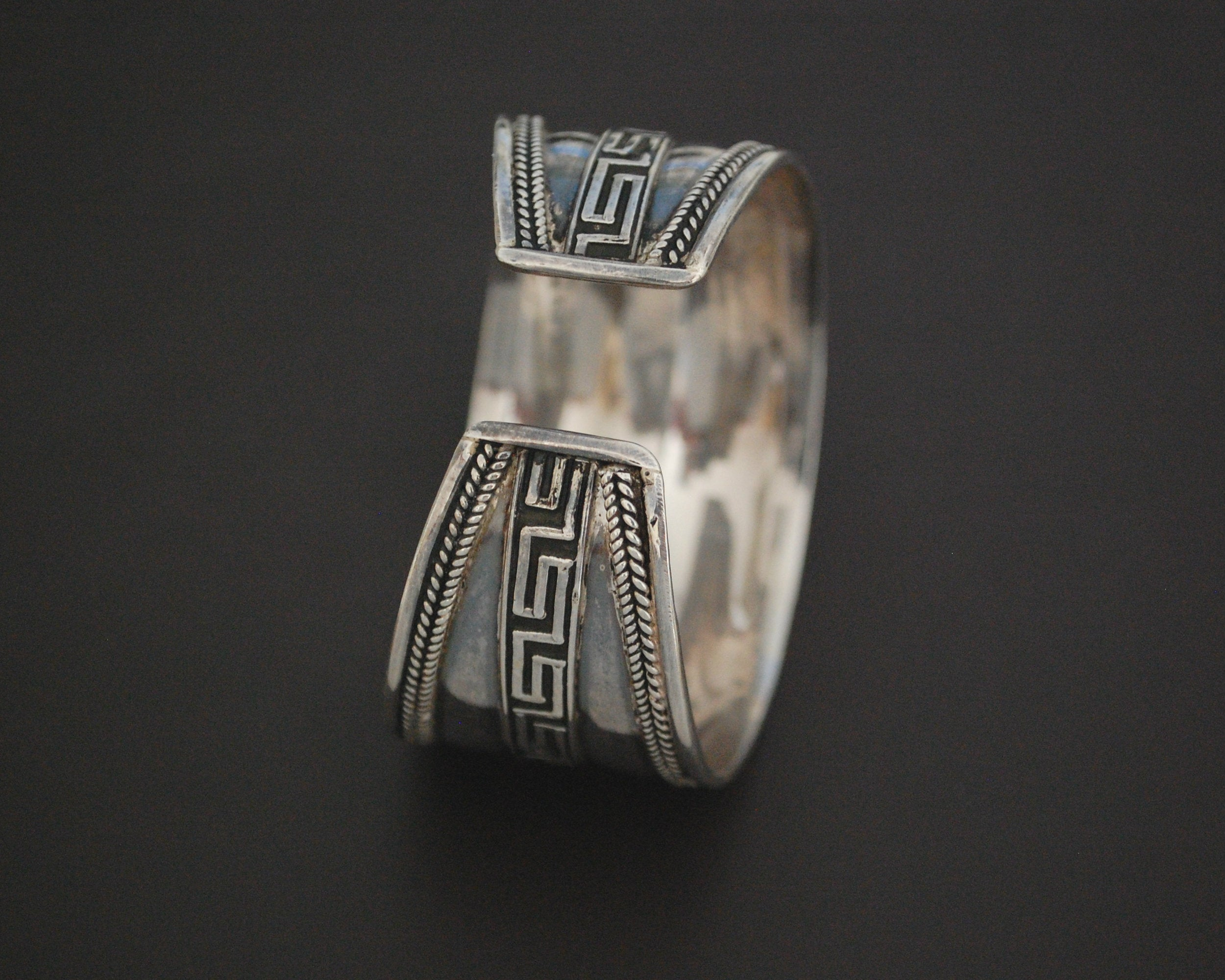 Wide Sterling Silver Cuff Bracelet from India