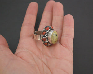 Ethnic Turquoise and Coral Ring from India - Size 7.5