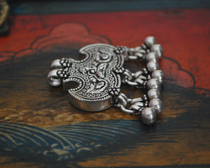 Rajasthani Sterling Silver Ganesha Amulet Pendant with Bells