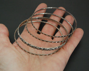 Rajasthani Silver Bangle Bracelets - Set of Four
