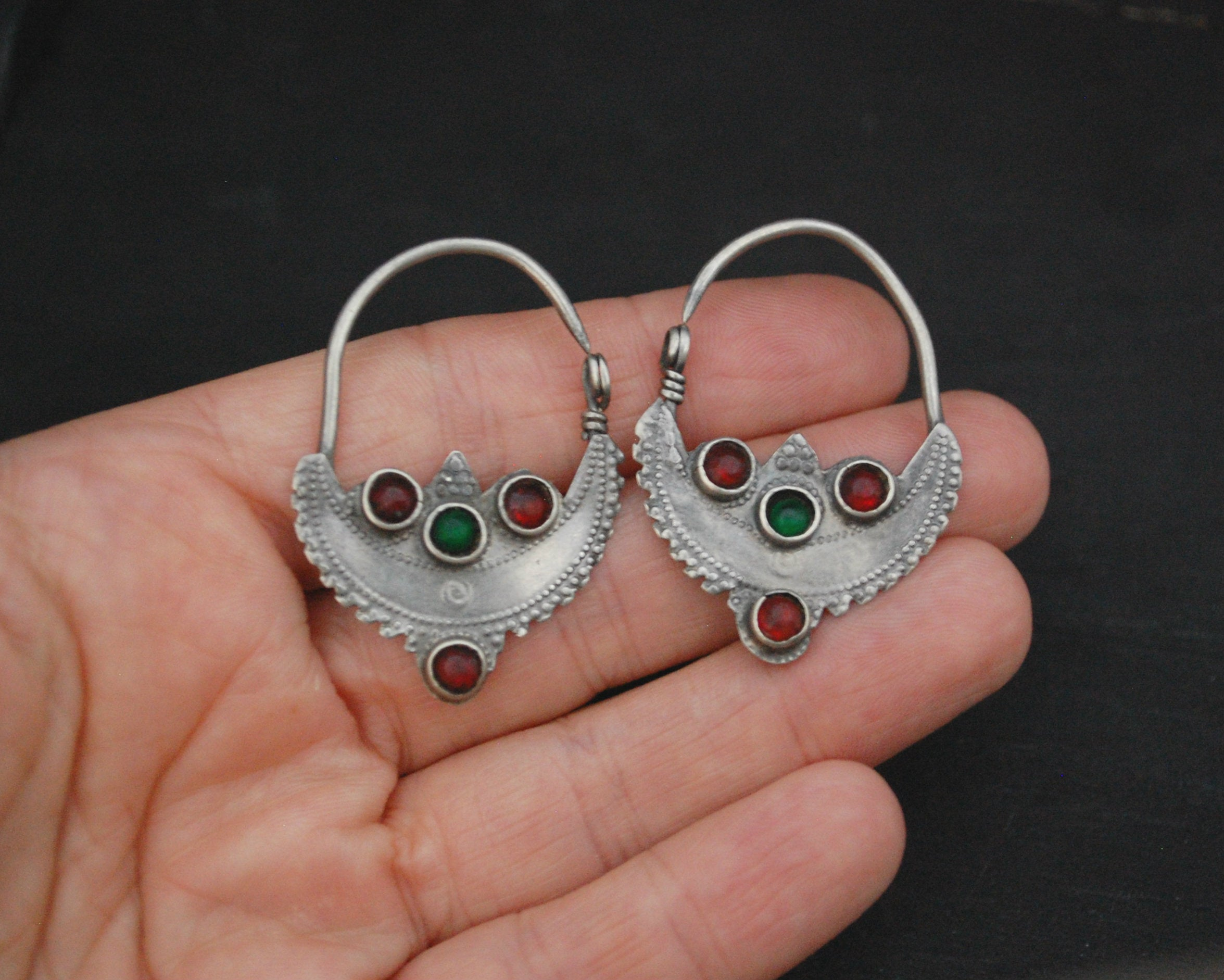 Antique Afghani Hoop Earrings with Glass