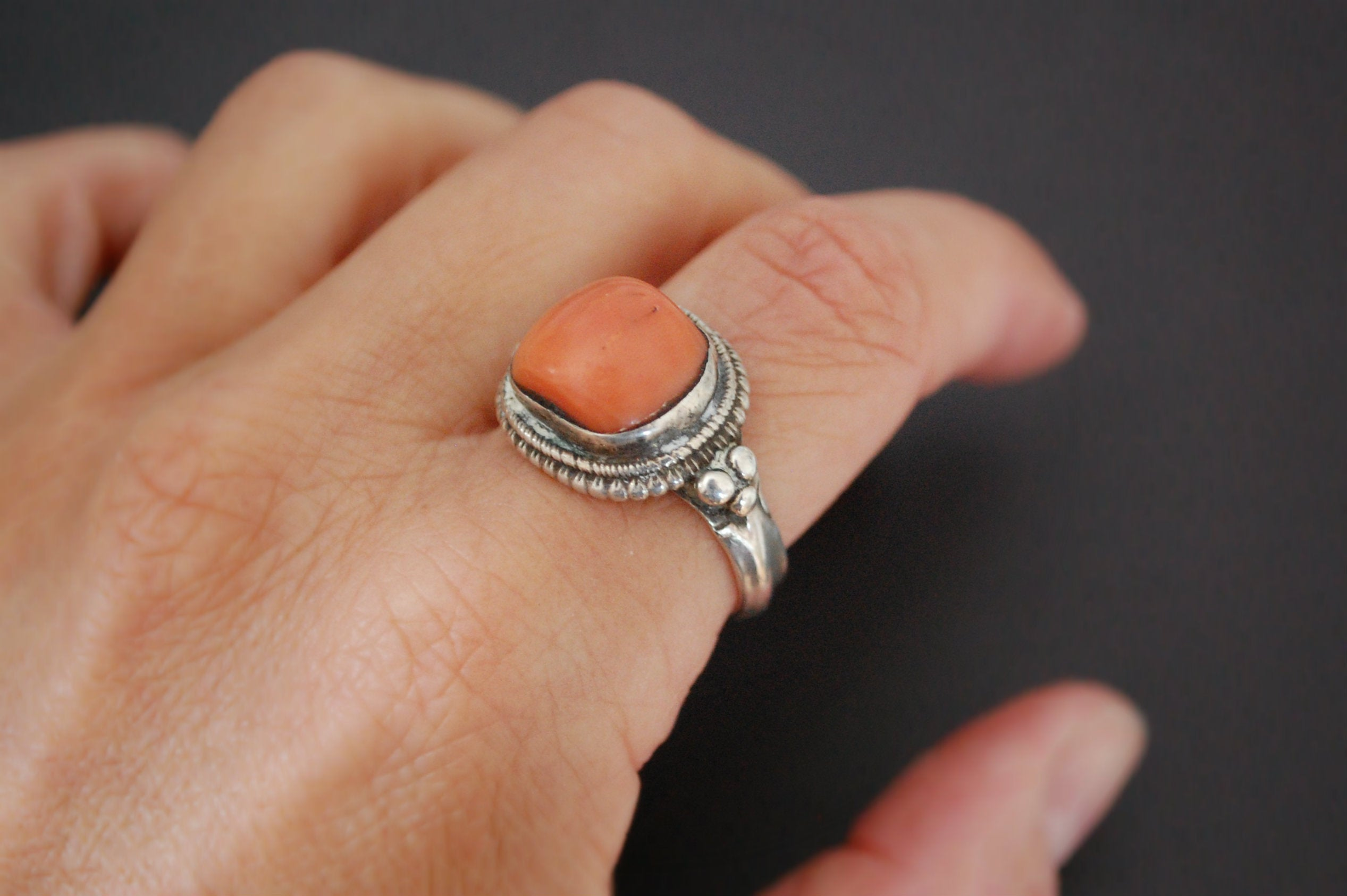Old Tibetan Coral Ring - Size 9.5