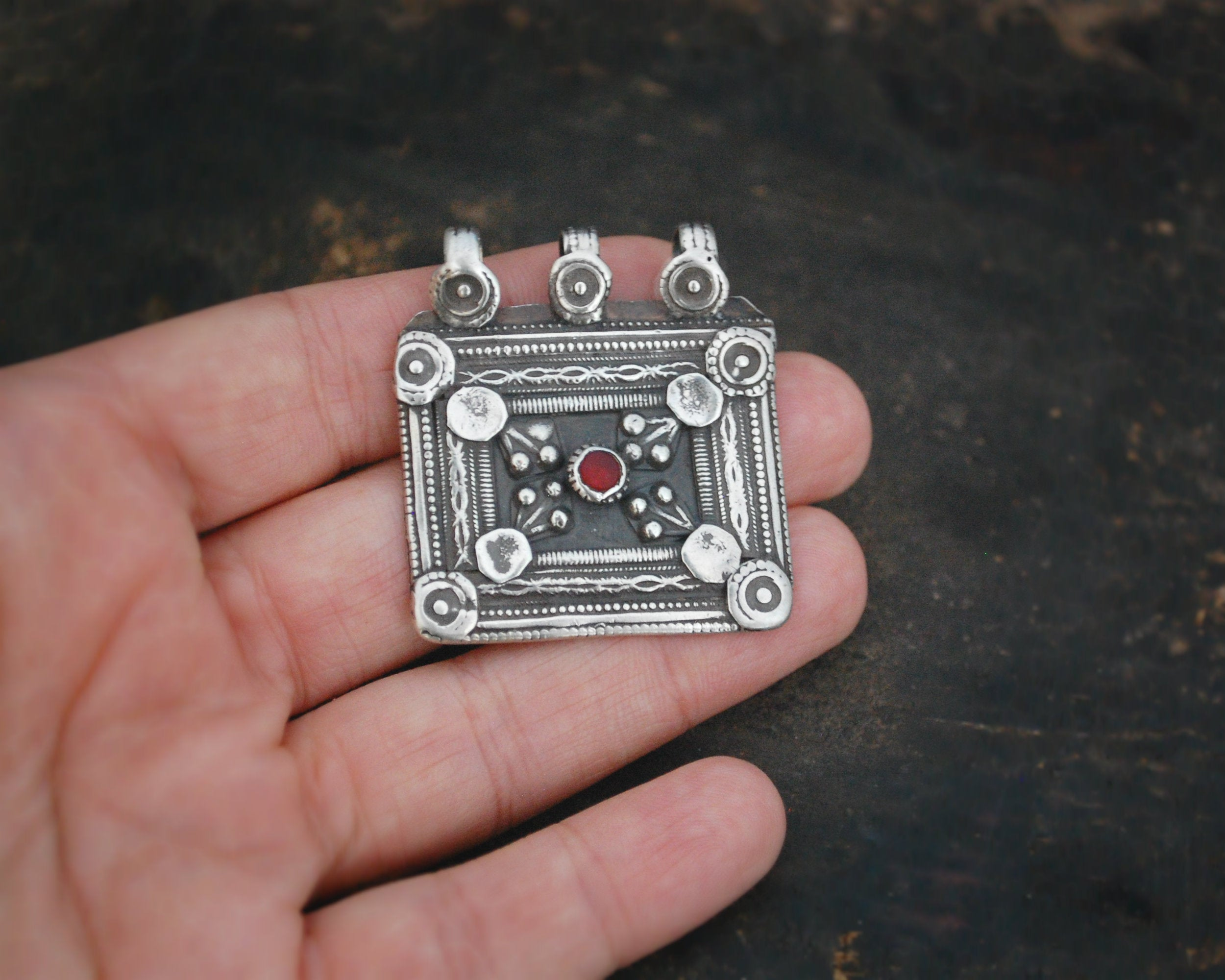 Antique Afghani Silver Pendant with Red Glass