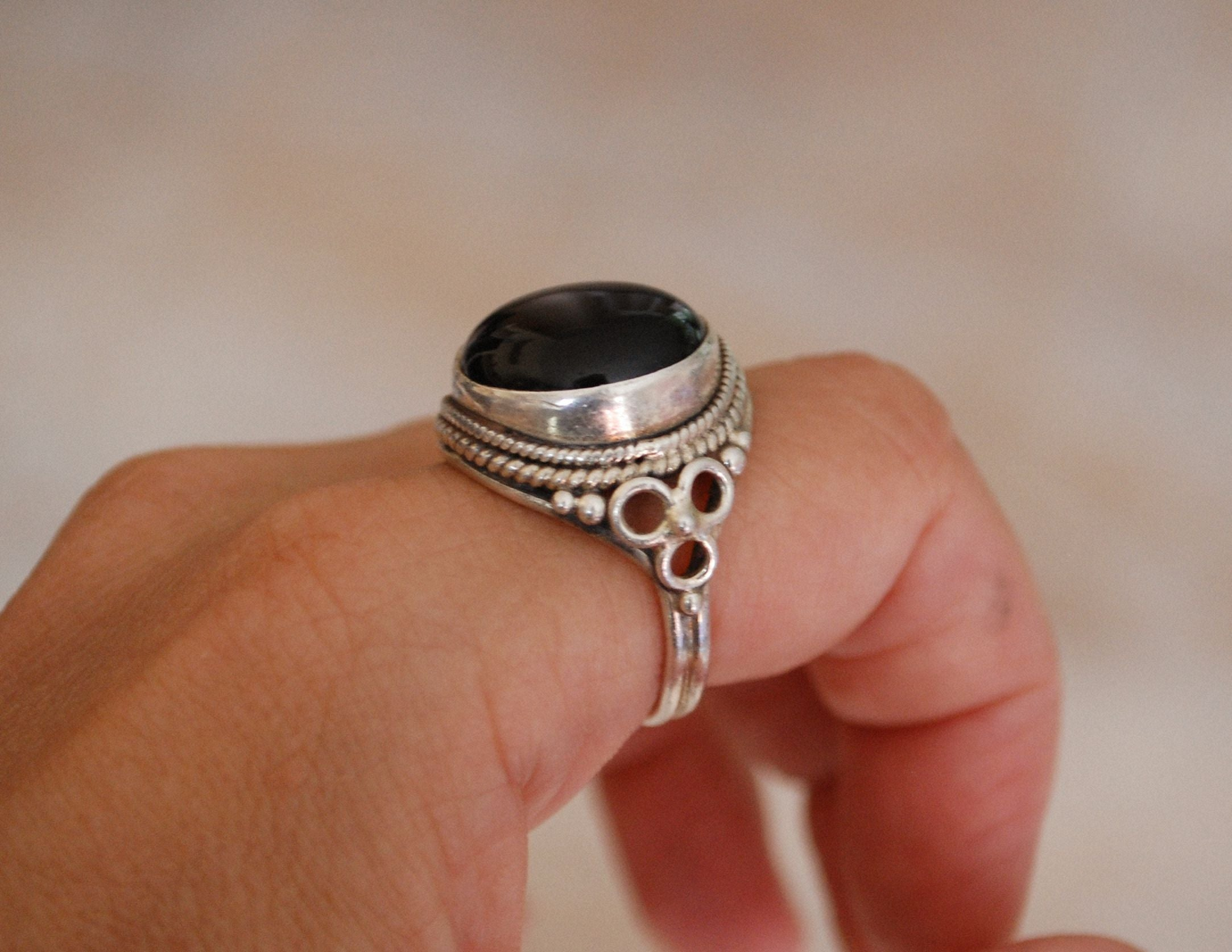 Ethnic Onyx Ring from India - Size 8.5