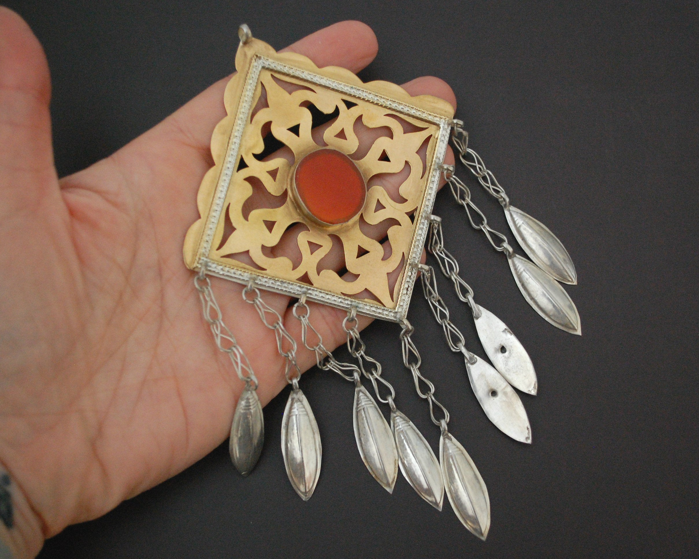Antique Turkmen Pendant with Carnelian and Dangles