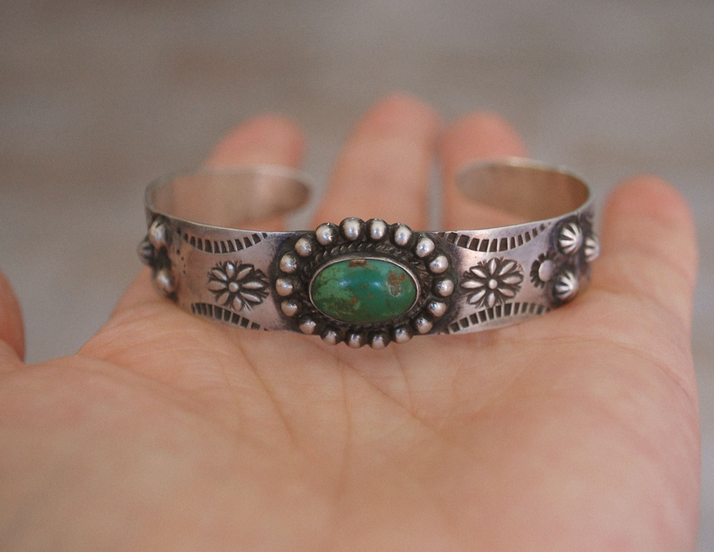 Navajo Fred Harvey Era Bracelet with Green Turquoise