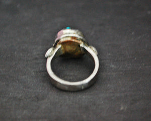 Antique Tibetan Turquoise Nugget and Coral Ring - Size 5