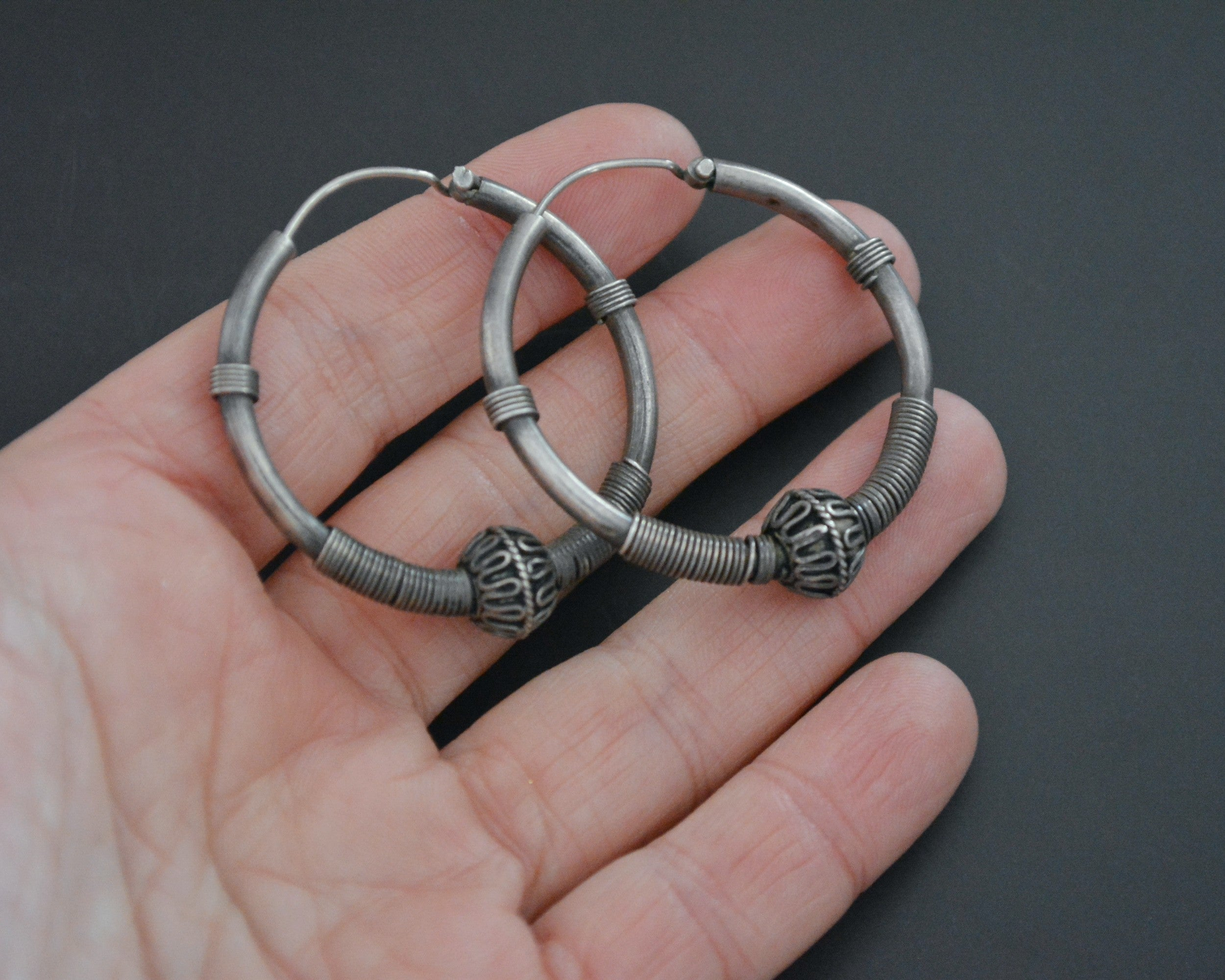Ethnic Bali Hoop Earrings with Wire Work and Bead - Medium/Large