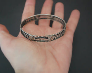 Rajasthani Silver Bangle Bracelet with Leaves - SMALL