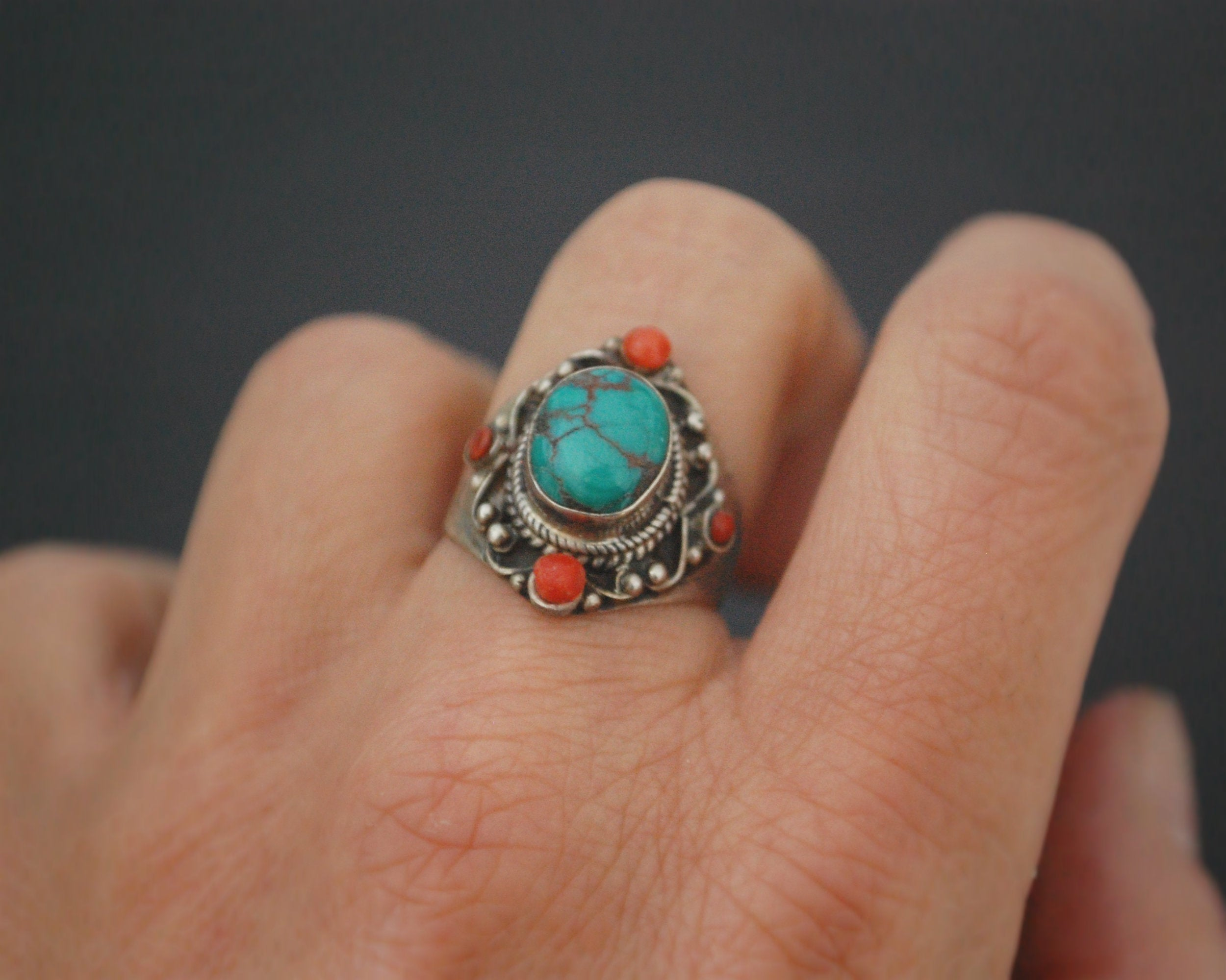 Nepali Turquoise Coral Ring - Size 6.5