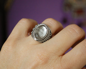 Faceted Crystal Quartz Ring - Size 5.5