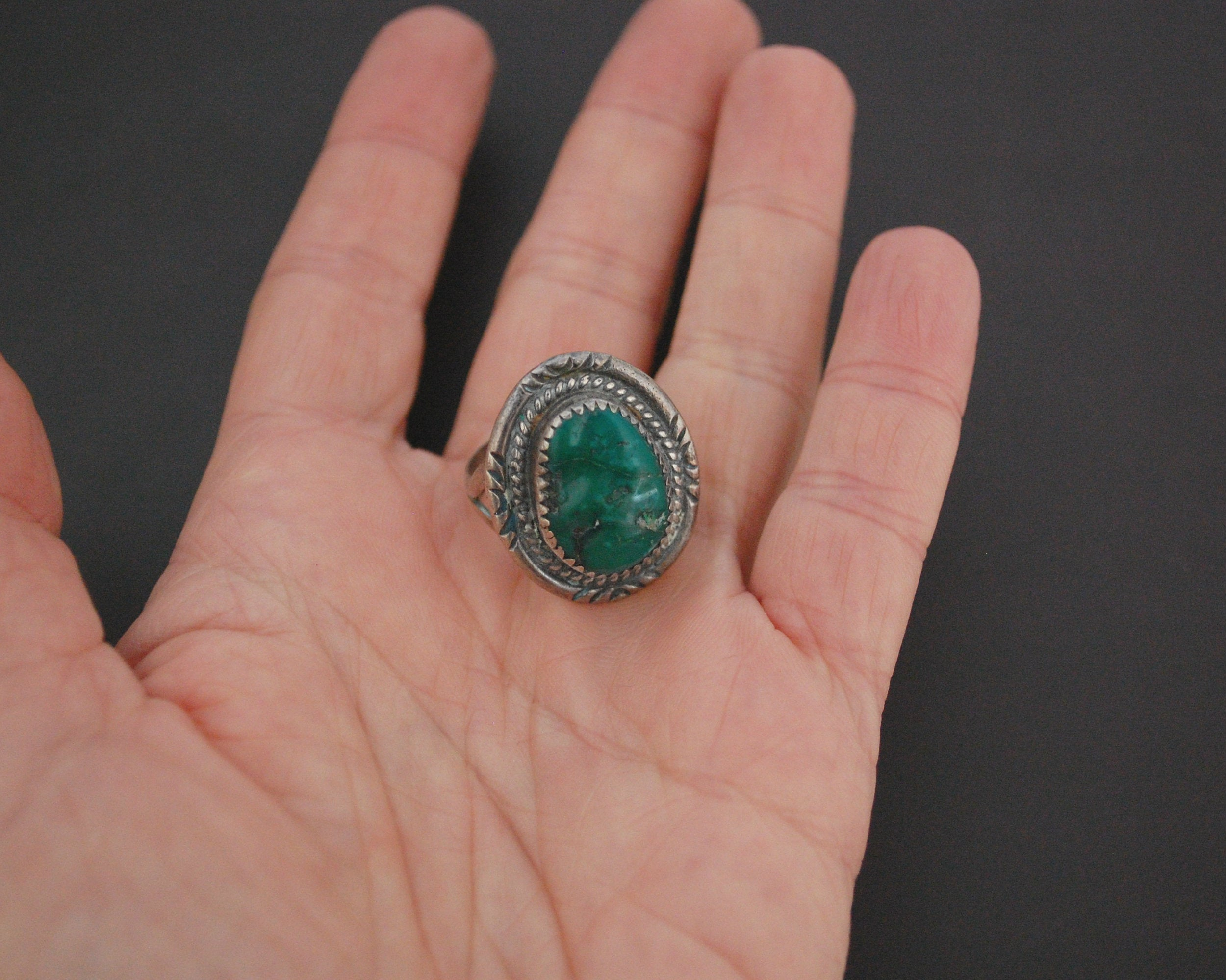 Native American Navajo Turquoise Ring - Size 8.5 - Signed M
