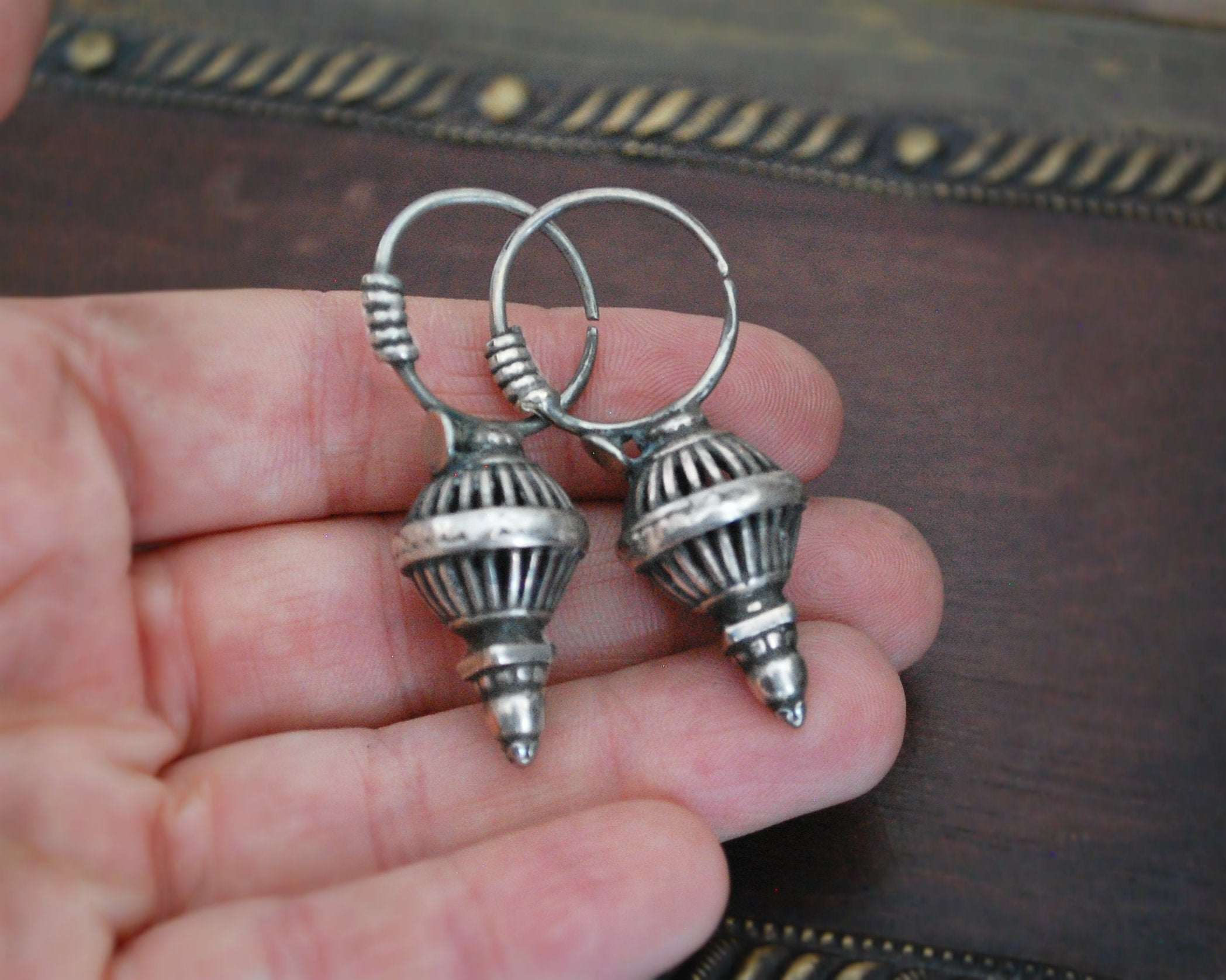 Old Original Tribal Silver Earrings from Gujarat