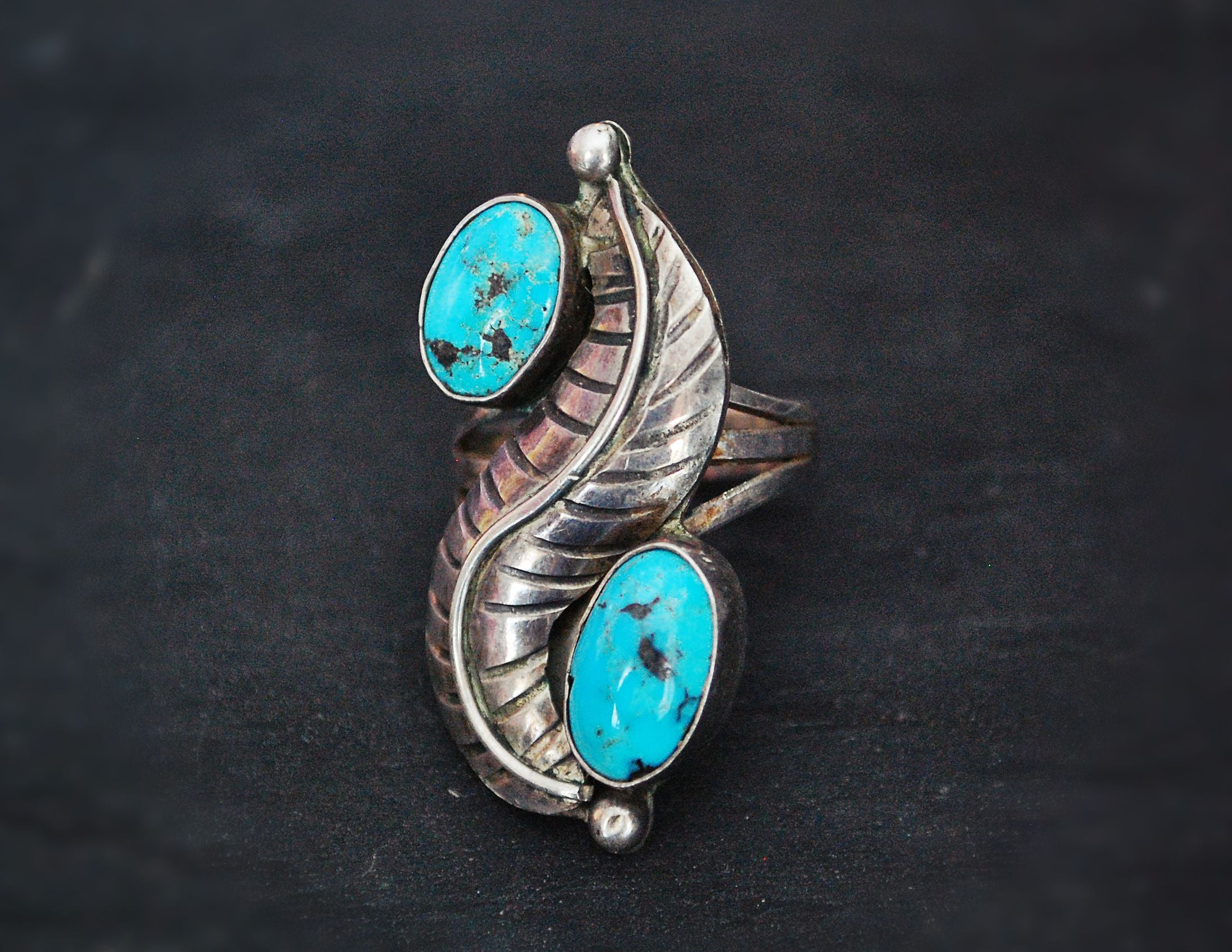 Navajo Turquoise Feather Ring - Size 7